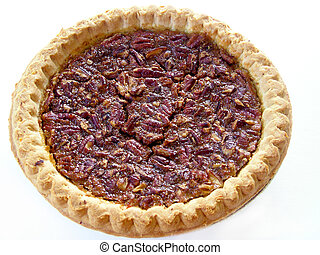 Pecan pie isolated on white