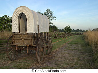 Replica Wagon on the Oregon Trail - Whitman Mission National...