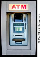 ATM - An automated teller machine is ready to provide cash.