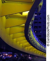 Bridge by Night from Below - -- this is a curved pedestrian...