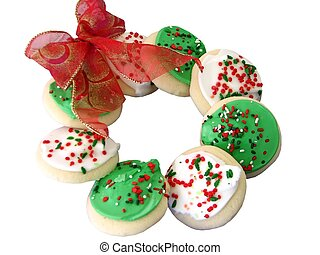 Sugar Cookie Wreath - Closeup of a sugar cookie wreath with...