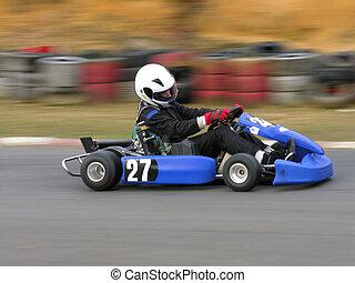 Fast Go Kart - A speeding blue go kart