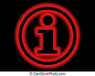 Information symbol – glowing red on black background