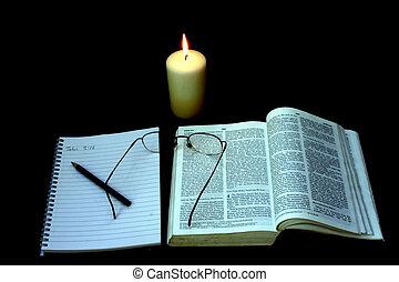noite, bíblia, estudo
