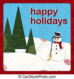 Happy Holidays - Paper cut Snowman - Holiday paper cut...