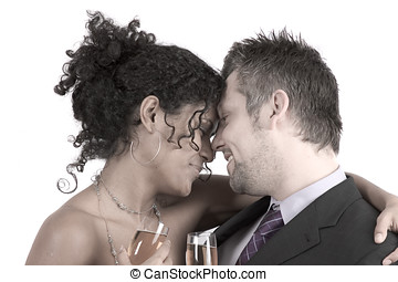 Diverse couple heads close together - Loving young couple...