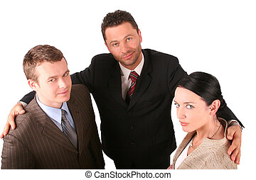success team - Group of 3 business people - promotion