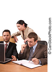 business team 3 - Group of 3 business people working...