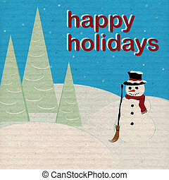 Happy Holidays - Snowman - Aged Paper - Holiday illustration...