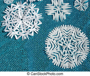 Snow Flakes - Shiny Blue Cloth and Handmade Paper Snow...