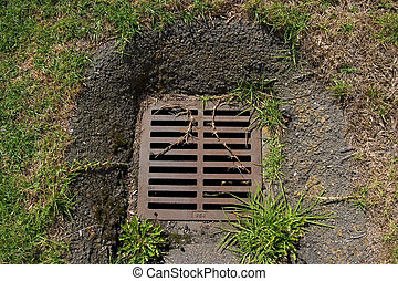 Down the Drain - A view looking down at a storm drain in a...