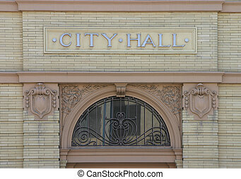 City Hall Nameplate - The nameplate above the entrance to a...