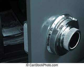 Opened Safe in blue tone, Focus on the dial