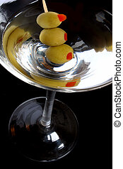 Martini Over Black - Martini with 3 olives