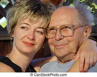 Family - Young woman and her grandfather