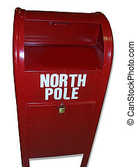Send to Santa - Red Mailbox, says: North Pole, background...