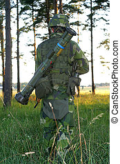 Soldier on the move - Soldier in the woods doing some basic...