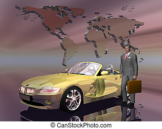 Successful salesman with his car. - Successful businessman...