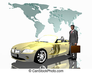Successful salesman with his car, over white. - Successful...