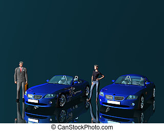 Businessman and model with cars - Bmw Z4 25 i sportscar...