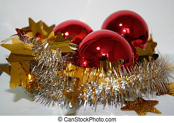 Red Christmas Bulbs and reflection