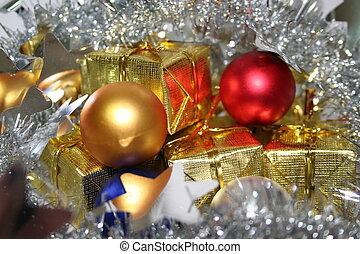 Christmas snow - Christmas bulbs and garland