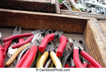 Pliers in a wooden box