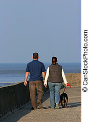 A Couple Walking Their Dog.