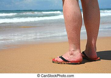 Tropical holiday - Legs on a tropical beach