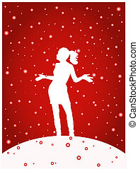 Let it snow - Female dancing in the snow