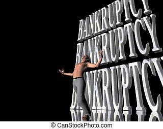 Bankruptcy, failing business - 3D illustration, background,...