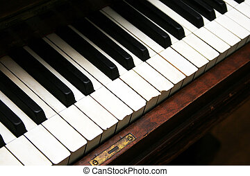 Old Piano Keys - Old well worn upright piano