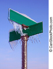 Winter Sign, Blank - Blank Street Sign, covered in icicles,...