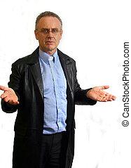 Explaining Pastor - Man dressed as a vicar, in an explaining...