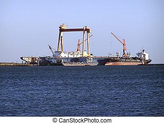 Oil tanker, Egypt - Oil tanker on the Nile nearby Cairo,...