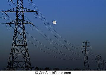 Full moon rising - Full moon rises at dusk over flat...