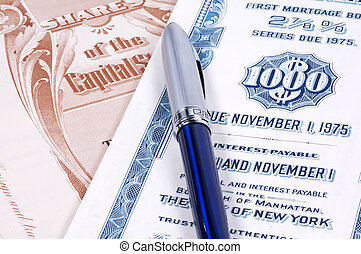 Stock Certificates - Pen and Stock Certificates