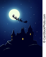 Christmas greeting card - Castle in the christmas night