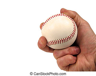 Baseball ball in hand-over white with clipping path
