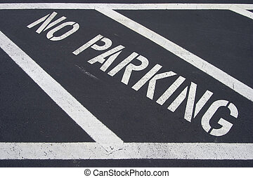 No Parking - A painted no parking area on the black top.