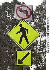 Pedestrian Roadsign - A roadsign warns cars of pedestrians...