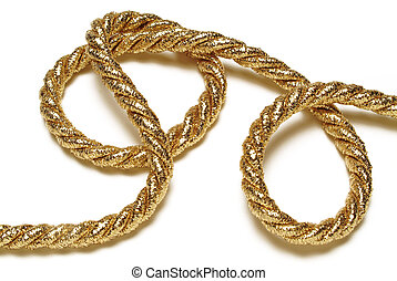 Golden rope isolated on white