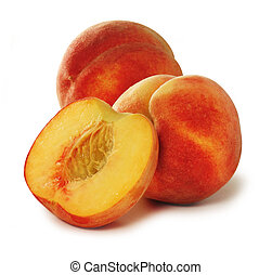 Three peaches over white