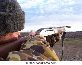 Hunter Aiming 2 - Hunter Aiming, duck hunting, south dakota