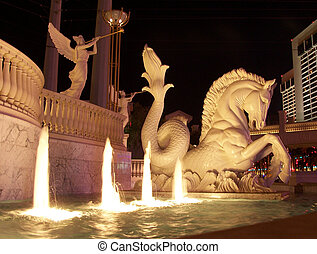 Vegas Fountain - Lighted Fountain and Statues in Las Vegas