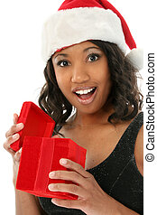 Christmas Surprise - Beautiful African American woman in...
