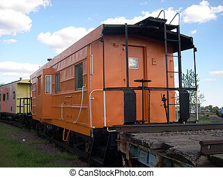 Caboose on the back of train