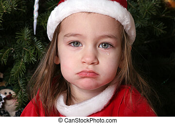 Sad Santa Baby 1 - 2 year old, cying in Sana suite