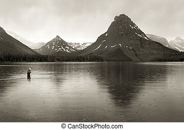 Fly Fishing, Glacier National Park - Photo of a fly fisher...