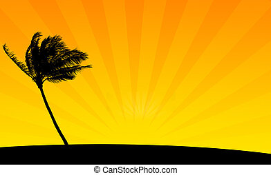 Orange Palm - Silhouette Background